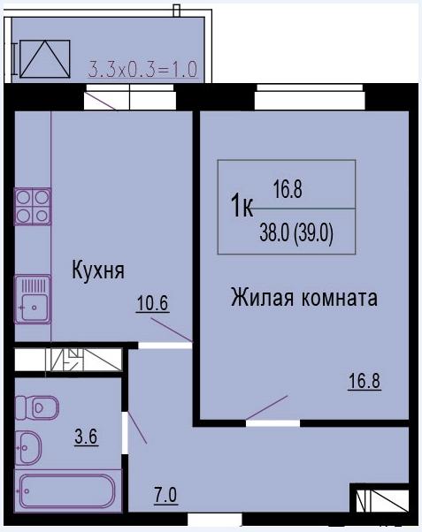 1к, 38 кв.м